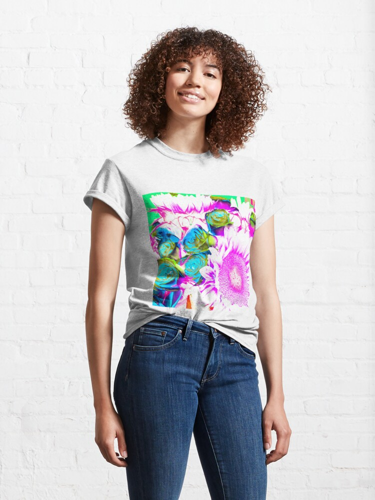 Alternate view of Flower Lovers Gift - Neon Bouquet Design Classic T-Shirt