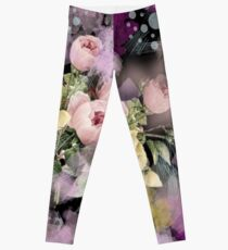 shabby chic french country flowers vintage black floral Leggings