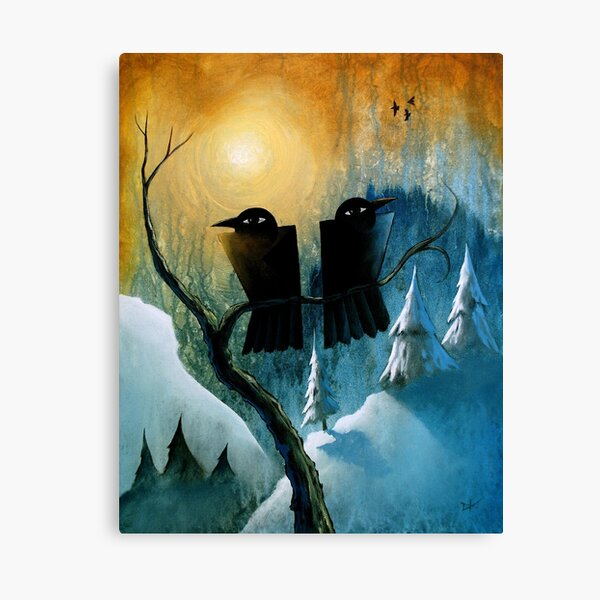 Two Ravens in a Tree Canvas Print