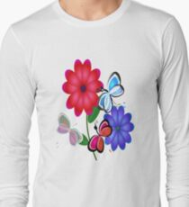 Abstract Butterflies with Flowers (Vintage Orange) Long Sleeve T-Shirt