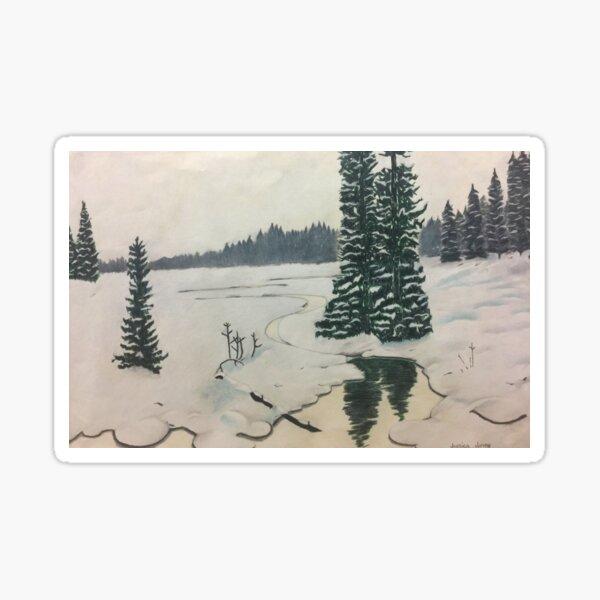 Winter Wilderness Drawing Sticker