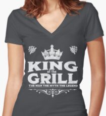 King Of The Grill Design Women's Fitted V-Neck T-Shirt