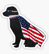 Patriotic Black Lab Silhouette - Preppy Super Dog Sticker