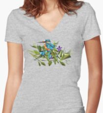 Common Kingfisher (halcyon) in Triangles Women's Fitted V-Neck T-Shirt