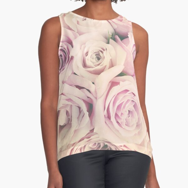 Gift for Gardener - Pink Rose Blush Pastel Gift - Floral Present Sleeveless Top