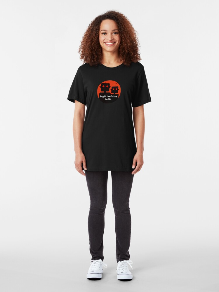 Alternate view of Robot Logo - FugitiveJuice Media Slim Fit T-Shirt
