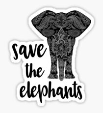 Save The Elephants Zen Doodle Sticker