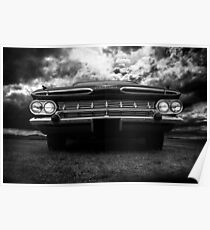 1959 Chevy Impala, black and white Poster