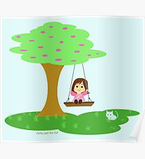 Caty and the Cat play in the swing Poster