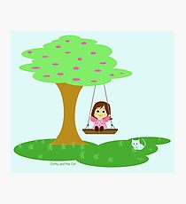 Caty and the Cat play in the swing Photographic Print