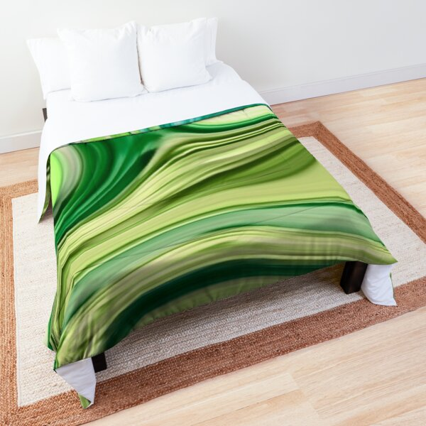 modern trendy abstract turquoise lime green swirls Comforter