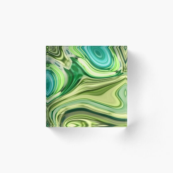 modern trendy abstract turquoise lime green swirls Acrylic Block