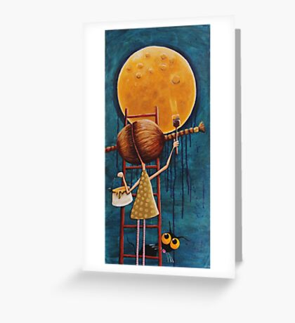 Painting the moon Greeting Card