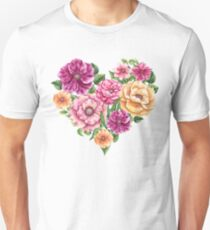 Heart with Watercolor Flowers Unisex T-Shirt