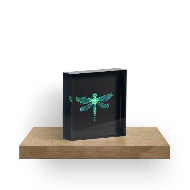 'Green Dragonfly' Acrylic Block