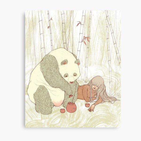 Panda Tea Party Metal Print
