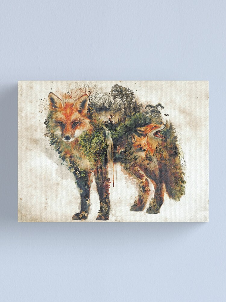 Alternate view of The Fox my original surreal nature art Canvas Print