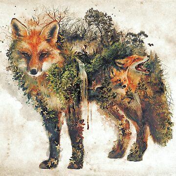 The Fox my original surreal nature art by barrettbiggers