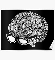 Brain with Glasses Poster