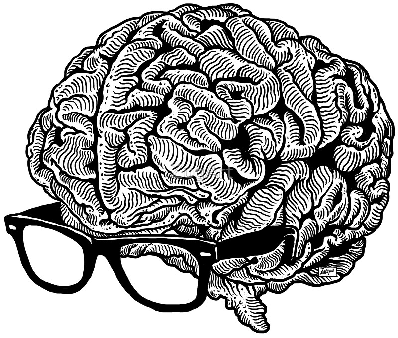 Brain wearing glasses smiling cartoon character icon ...