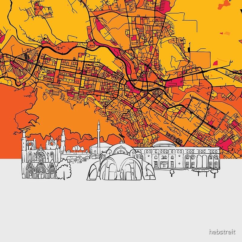 Mazedonien Karte.Skopje Mazedonien Skyline Karte Kunstdruck
