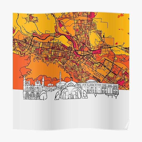 Skopje, Macedonia, Skyline Map Poster