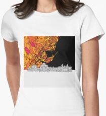 Monaco, Skyline Map Womens Fitted T-Shirt