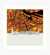 Amsterdam, Netherlands, Skyline Map Art Print
