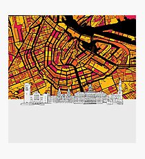 Amsterdam, Netherlands, Skyline Map Photographic Print