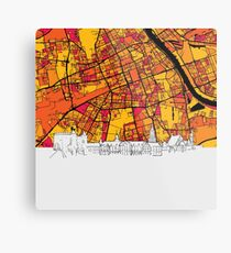Warsaw, Poland, Skyline Map Metal Print