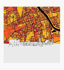 Warsaw, Poland, Skyline Map Photographic Print