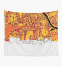 Warsaw, Poland, Skyline Map Wall Tapestry