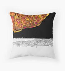 Lisbon, Portugal, Skyline Map Throw Pillow