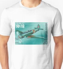Postage stamp printed in Soviet Union shows vintage airplane Unisex T-Shirt
