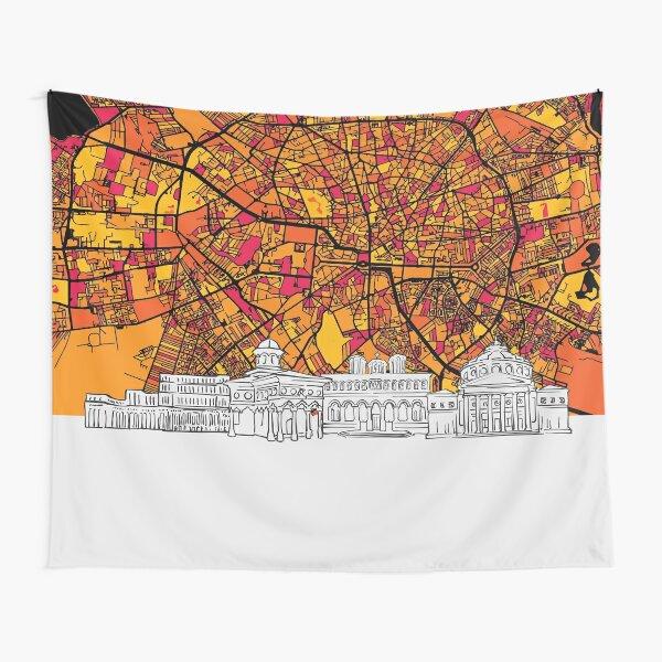 Bucharest, Romania, Skyline Map Tapestry