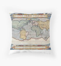 Antique Maps of the World , 1570 Throw Pillow
