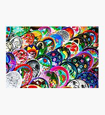 Colourful Mexican Pottery in Playa del Carmen, south of Cancun Photographic Print