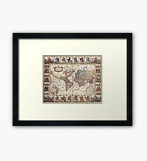 Map of the World, c 1652 Framed Print