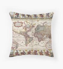 Map of the World, c 1652 Throw Pillow
