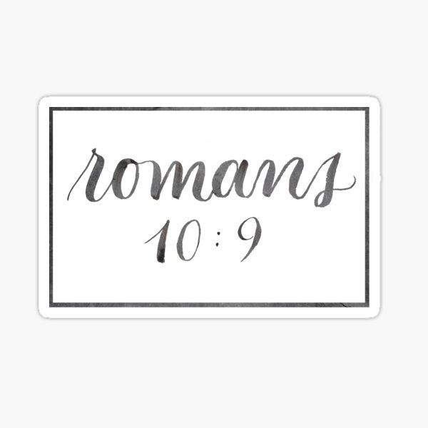 Bible Verse Lettering - Romans 10:9 Sticker