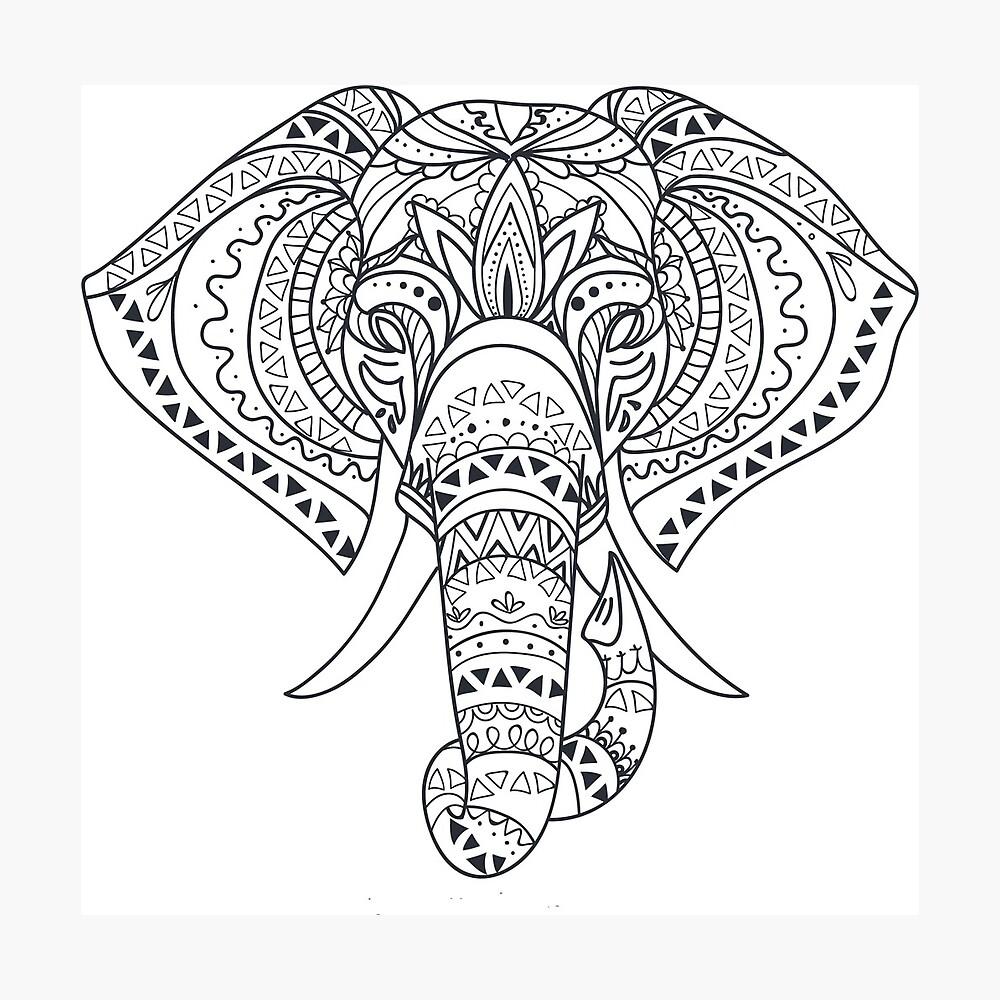 Tribal Tattooed Elephant Outline Black White Drawing Metal Print By Turtlebird Redbubble