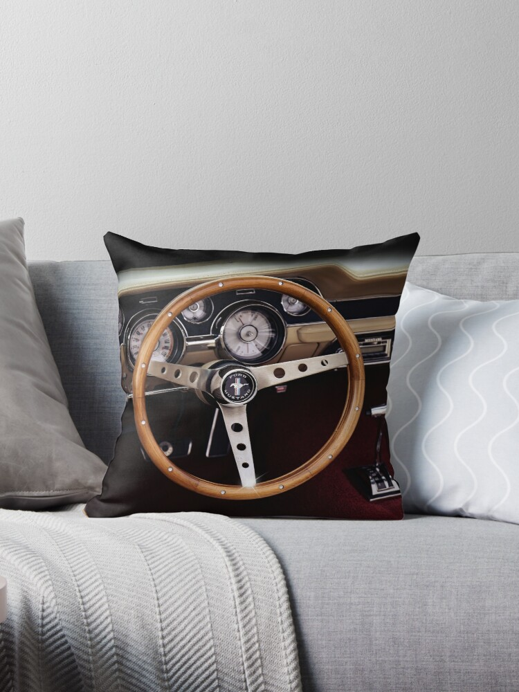 1967 Ford Mustang Steering Wheel Throw Pillow By Hottehue Redbubble