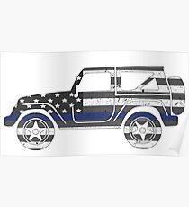 Jeep - Thin Blue Line Poster
