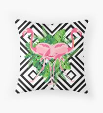 Hand drawn pink flamingo with tropical leaves in mirror image style on geometric background. Throw Pillow