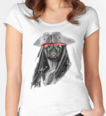 Pug Pirate Women's Fitted Scoop T-Shirt