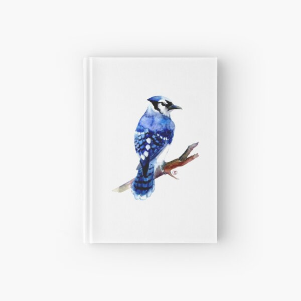 Watercolor blue jay  Hardcover Journal