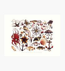 Traditional Nautical Tattoo Flash Art Print