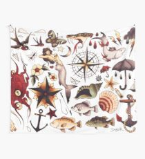 Traditional Nautical Tattoo Flash Wall Tapestry