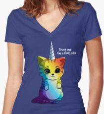Cute Cat Unicorn LGBT T-shirt Women's Fitted V-Neck T-Shirt