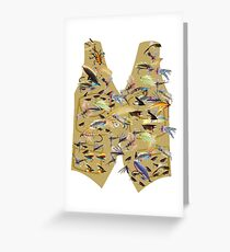 Fly fishing vest with lots of fishing flys, fishing Greeting Card